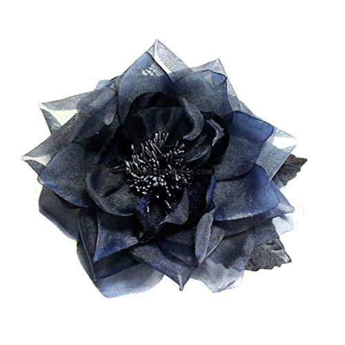 Artipistilos® Broche Flor De Organza Lucca - Azul Marino - Navy - Flores De Organza