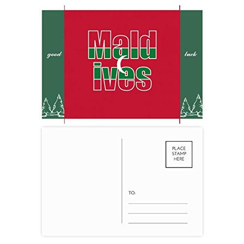 Malediven Land Vlag Naam Veel Geluk Postkaart Set Kaart Mailing Side 20 stks