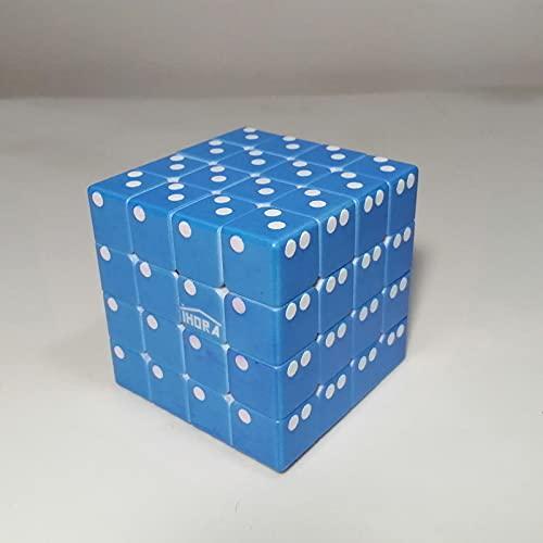 iHora Speed Rubiks Cube 4x4 with Raised Braille Digits UV Print, Blue