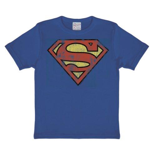 Logoshirt DC Comics - Il Supereroe - Superman Logo T-Shirt per Bambini - Maglia per Bambini - Azzurro - Design Originale Concesso su Licenza, Taglia 122/134, 7-9 Anni