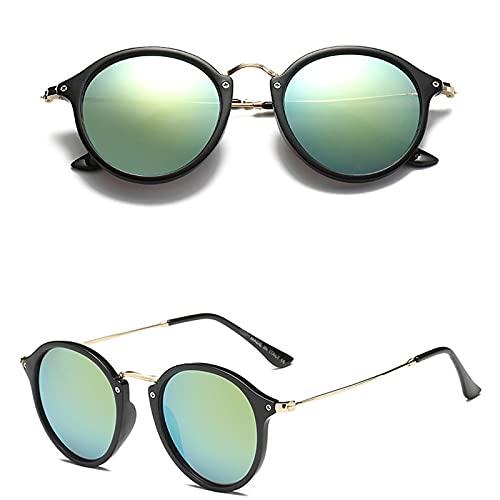 Astemdhj Gafas de Sol Sunglasses Gafas De Sol Retro De Moda para Hombres Gafas Ovaladas De Diseñador para Hombres/Mujeres Gafas De Sol para Hombres Vintage Espejo De Lujo BlackgAnti-UV