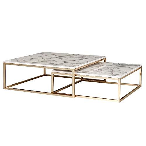 Wohnling Set di 2 tavolini da salotto di design con effetto marmo, rettangolari, 2 pezzi, in metallo dorato