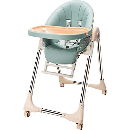 PTHZ Fold Baby Silla Alta 4 en 1 con Ruedas, Convierte al Asiento de Piso Infantil, Silla de Refuerzo para niños, Mesa de Mesa para niños