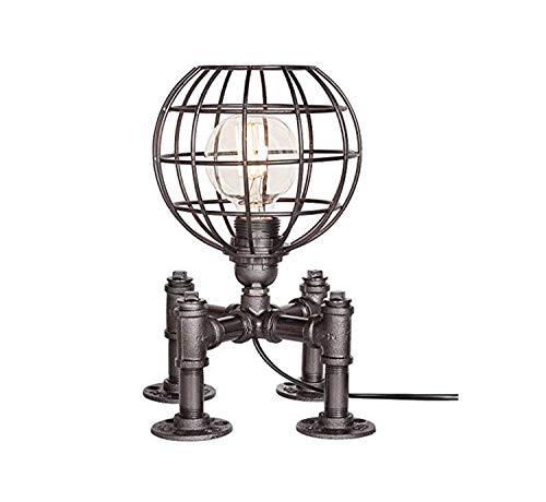 HHJJ Luz del Techo Lámpara de Mesa Industrial de la Vendimia Steampunk Table Light Rustic Water Pipe Style Lámpara de Escritorio de la Cama E271 MAX 40W Lámpara-13193D0F0R