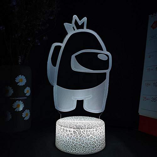 Among us Character in Crown 3D Lampe Nachtlicht mit Fernbedienung, Geschenk für Kinder, 3D Illusion Lampe 16 Farben Ändern,Geburtstag Geschenk, Geschenke für Jungen und Mädchen