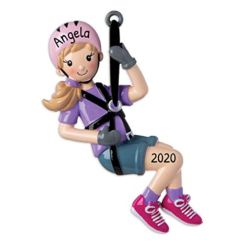 Personalized Zip Line Christmas Tree Ornament 2020 - Girl Rider Slide Sypline Rope Hobby First Travel Free-Falling Amusement Park Kid Trolley Grand-Daughter Nature Friend Year - Free Customization