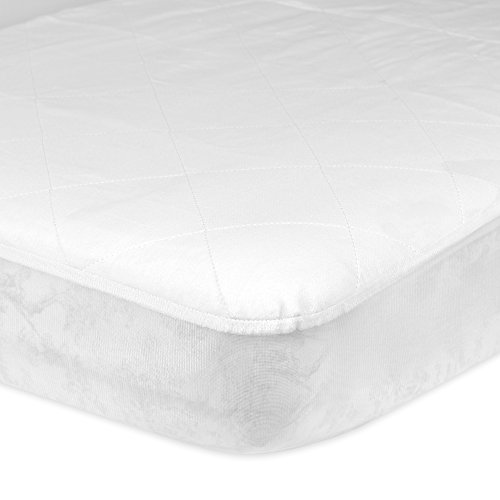 """Gerber Baby Boys and Girls Newborn Infant Baby Toddler Nursery Waterproof Barrier Bedding Crib Protector Pad, Fitted Mattress Cover White, 28""""x 52"""" x 9"""" Fitted Mattress Cover"""