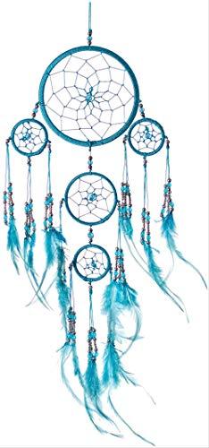 Atrapasueños hecho a mano, atrapasueños colgante ético, atrapasueños, arte de pared con plumas y cuentas de plata, diseño tradicional de ganchillo, 35 cm de largo, 12 cm de ancho, turquesa