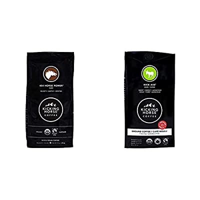 Kicking Horse Coffee, 454 Horse Power, Dark Roast, Whole Bean, 10 oz - Certified Organic, Fairtrade, Kosher Coffee & Kick Ass, Dark Roast, Ground, 10 oz -Certified Organic, Fairtrade, Kosher Coffee