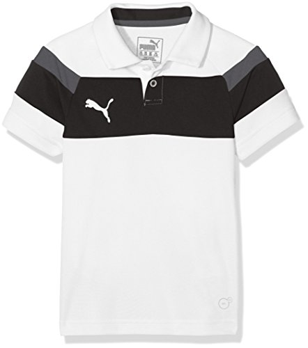 PUMA Kinder Polo Spirit II Poloshirt, White-Black, 128