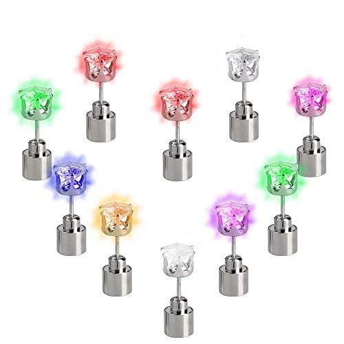 LED Ohrringe Leucht Ohrstecker Ohrringe RGB Farbwechsel bunt leuchtende Ohringe mit Licht(Bunte)