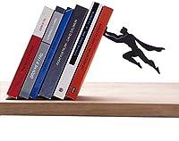 GAXQFEI 棚や机のためのデザインの装飾的な小冊子、ブラックメタルの本の終わり、ブックエンド、オフィスのための終わり,ブラックb.