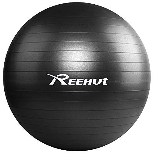 REEHUT Exercise Ball (65 cm) Extra Thick Yoga Ball Chair, Anti-Burst Supports 1100lbs - Includes Workout Guide & Quick Pump (Office & Home & Gym) Black