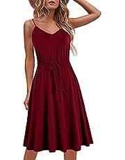 HELYO Women's Casual Dresses Summer Cotton Sleeveless Spaghetti Strap Adjustable Waist A Line Dress with Pockets 826