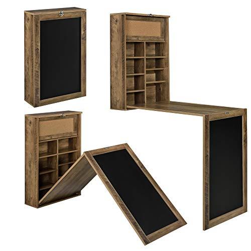 [en.casa] Escritorio Plegable de Pared con Corcho y Pizarra 80 x 50 x 18,5 cm MDF con Estantes para almacenar Color Madera