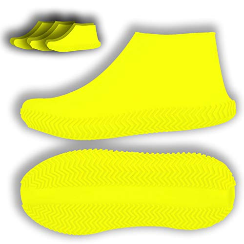 3 Pairs Waterproof Reusable Shoe Cover, 6 Pcs Impermeables Silicone Portable Boot Covers Slip Resistant Rain Shoe Cases Protectors for Kids,Men,Women Outdoor Protection (Large, Yellow)
