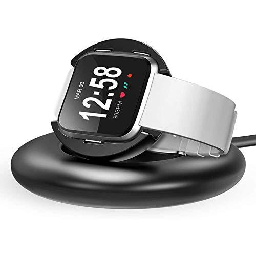 CAVN Cargador para Fitbit Versa Cargador, Carga Soporte Dock Accesorios Premium Aluminio Carga Dock Soporte Cable Estación Cuna con 4.2 ft Cable Cargador de Carga para Fitbit Versa Smart Watch