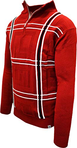 STACY ADAMS Men's Quarter Zipped Pullover Sweater (XXL, F_RED)