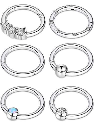 Blulu 6 Stücke 16G Edelstahl Klapp Clicker Ring Nasen Ringe Opal Kristall CZ Lippe Ringe Creolen Piercing Schmuck, 6 Stile (Silber)