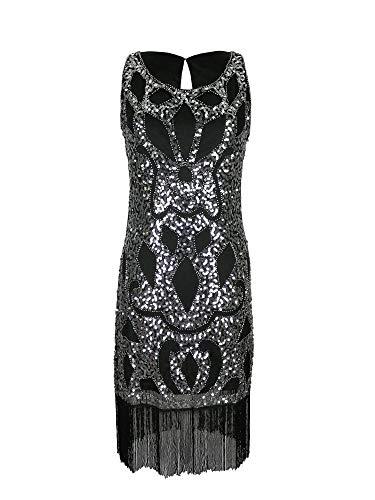 Silber schwarz 1920er Jahre Flapper Gatsby Abend Tanzkleid Phantasie Frauen Mädchen Größe 1920 Pailletten Quaste Vintage-Mode Kleidung (Silber, EU 38)