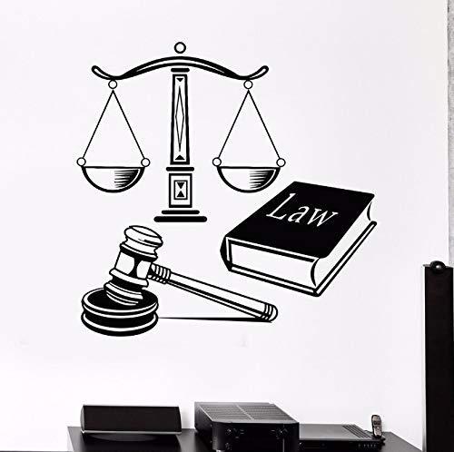 Calcomanías De Vinilo Para Pared, Corte De Ley, Decoración De Justicia, Mural, Pegatina De Pared, Libro Con Equilibrio, Arte De Pared, Decoración Mural 57X57Cm