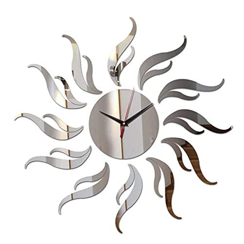 cbvdalodfej Reloj de Pared 3D Caja Fuerte decoración del hogar Relojes de Cuarzo Cristal de Bricolaje Relojes de Espejo Real Sala de Estar Pegatinas de Arte para niños