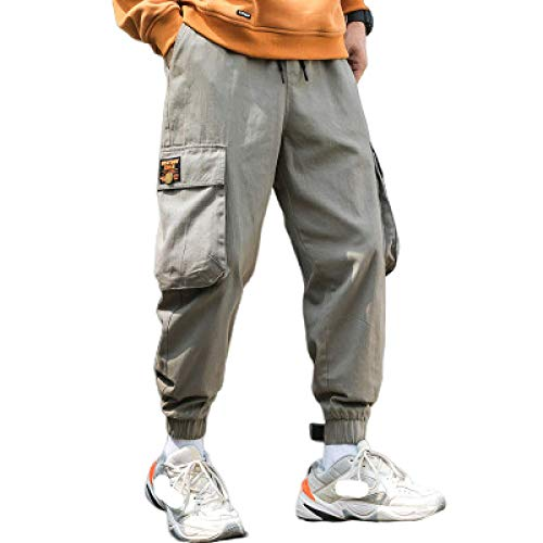 Zestion Men's 3D Straight Tapered Trousers Joggers Pants Multi Pocket Ankle Length Straight-fit Cargo Pant Wear-Resistant Durable 3X-Large Gray