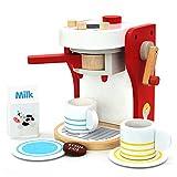yoptote 17111- Kinderrollenspiele Kaffeemaschine aus Holz Spielzeugküche Zubehör, inkl. 2 Tasse, Milchbox und 1x Kaffeepad für Kinder 3 4 Jahre Alt (8-TLG)