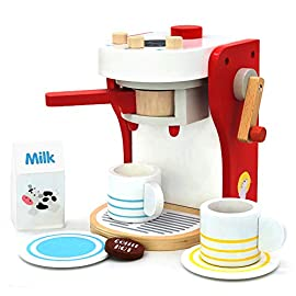 yoptote Kitchen Wooden Coffee Machine Maker Toy Set Role Play Kitchen Accessories Presents Educational Toys for 3 4 5 Years Old