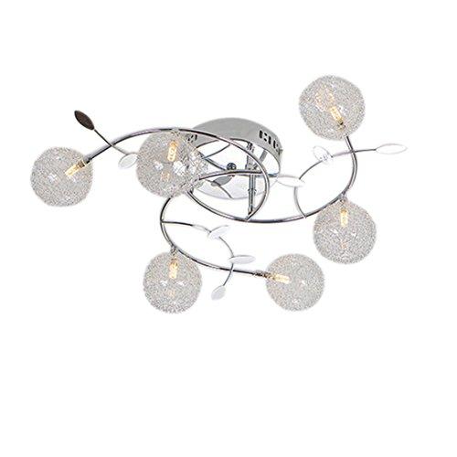 Moderne glazen en ijzeren kroonluchterlicht, 5 heldere kroonluchters plafondlamp voor woonkamer, slaapkamer, eetkamerverlichting