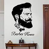 ganlanshu Cabeza de Hombre Peluquero Retrato peluquería Papel Pintado de Vinilo Etiqueta de la Pared decoración del hogar Cartel Mural extraíble 57cmx82cm