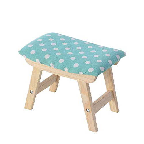 QJFJD Fotpall, massivt trä hem byte skor pall vardagsrum pall tyg pir liten bänk vuxen soffa pall avtagbar och tvättbar (färg: Blå, storlek: Poäng)