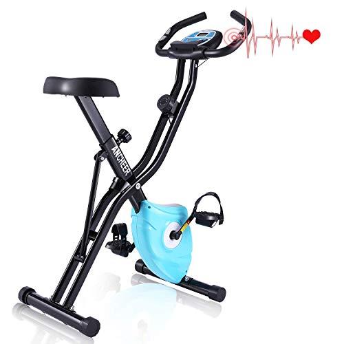 ANCHEER F-Bike, Klappbar Heimtrainer mit APP-Simulationsspiel, Fitness Fahrrad mit 10 Widerstandsstufen, Fitnessbikes mit Handpulssensoren für Sportler und Senioren
