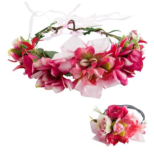 Comius Sharp Mujer Niñas Corona Floral Ajustable Tocado de Flor para Apoyos de La Foto de Fiesta de Boda (A1)
