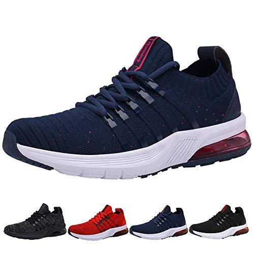 Uomo Donna Air Scarpe da Ginnastica Corsa Sportive Sneakers Running Fitness Basse Interior Outdoor Jogging Casual Blu Blue Plum 38