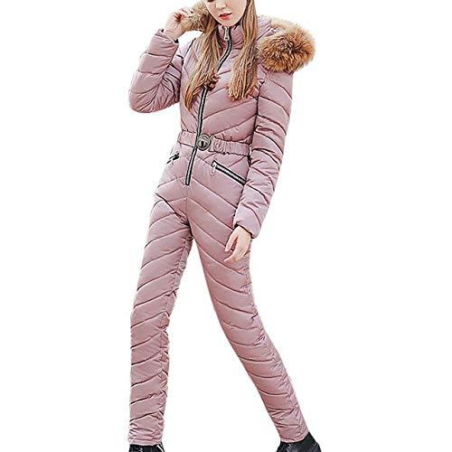 YRFDM Combinaison de Ski,Femmes Ski Suit Casual Warm Siamese Coton À Capuche Rembourré Veste Manteau Zipper Snowboard One Piece Jumpsuit Survêtement Survêtement, b, XXL