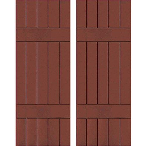 "Exterior Five Board Real Wood Pine Board-n-Batten Shutters (Per Pair), 18"" x 75"", Country Redwood - Ekena Millwork RWB18X075RWP"