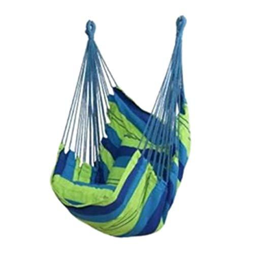 CCLIN 100x130 cm Tragbare Hängematte Swing Stuhl Indoor Outdoor Hängen Bett Leinwand Hängematten Swing Chair mit Kissen Garten Hängemattenstuhl-Green