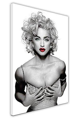 Fotos de Madonna Iconic Red Labips sobre lienzo enmarcado para pared, impresiones artísticas de celebridades, tamaño A2-24 x 16 pulgadas (60 cm x 40 cm)