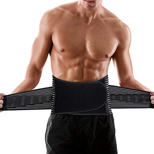 ENKEEO Back Braces Lumbar Lower Belt Support, Relief for Back Pain Support Breathable Brace for men, Dual Adjustable Sciatica Scoliosis Straps for Back Pain & Stress
