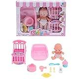 Atyhao Baby Girl Doll, Baby Doll Juego de Cama con muñeca Bañera Baño Guardería Baby Doll Juego para niños Niña de 3 años o más Cumpleaños