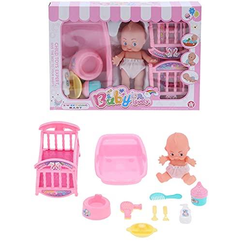 CUEA Muñeca de Cuerpo Suave, Juego de baño para muñecas recién Nacidas, Giratorio 360 °, práctico, Hermoso, con 1 Juego Mayores de 3 años
