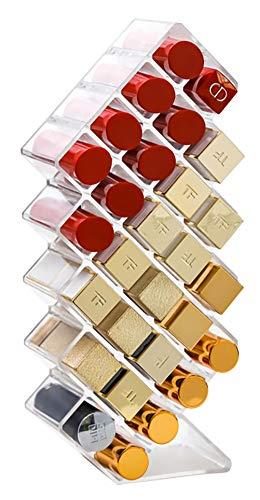 V-HANVER 28 Rejillas Barras Labios Organizador, Acrílico Transparente Organizador de Pintalabios Soporte Cosmético Maquillaje, Lápiz Labial, Rímel, Pinceles Joyas Expositor Labiales Encimera