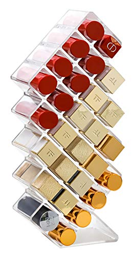 V-HANVER Fish Shape Lipstick Organizer Lip Gloss Storage Tower Makeup Stand for 28 Lip Sticks Women Girls Makeup Cosmetic Display, Clear Acrylic