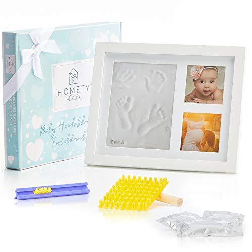 Homety® Gipsabdruck Baby Hand und Fuß mit Buchstaben Set und Bilderrahmen - Baby Handabdruck und Fußabdruck Baby - Schadstoff geprüft - Geschenk zur Geburt