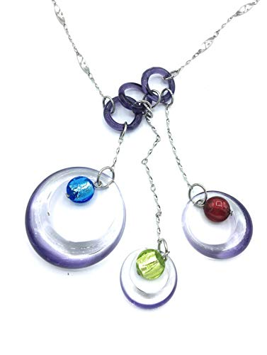 ANTICA MURRINA VENEZIANA Murano Glass Necklace VN 156 Amethyst