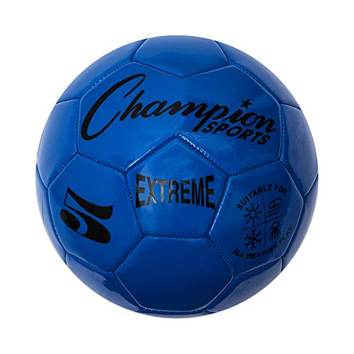Champion Sports Extreme Series Soccer Ball, Regulation Size 5 - Collegiate, Professional, and League Standard Kick Balls - All Weather, Soft Touch, Maximum Air Retention - for Adults, Teenagers, Blue
