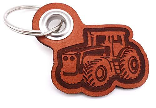 Samunshi® Leder Schlüsselanhänger mit Gravur Trecker Geschenke Made in Germany 6,5x5,8cm Cognac braun/graviert