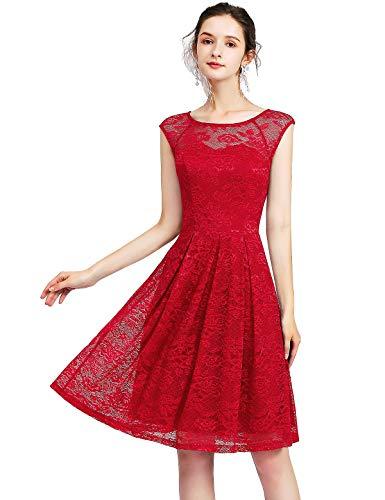 Bbonlinedress Sommerkleid Damen Spitenkleid Cocktailkleid Kleider Damen Elegant Vintage Vokuhila Rundhals aus Spitzen Ärmellos Cocktail Ballkleid Red S