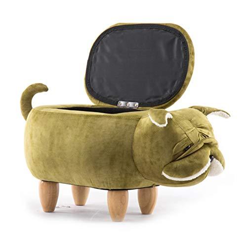 Tier Lagerung Hocker Hocker,Kinder Pouffe Hocker Mit 4 Holzbeinen,Hundeform Gepolstertes Kissen Wechselnde Schuhe Bank Für Wohnzimmer Schlafzimmer Flur Grün 65×35×37cm